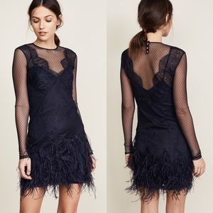 CINQ A SEPT Amabella Lace Dot Feather Trim Dress